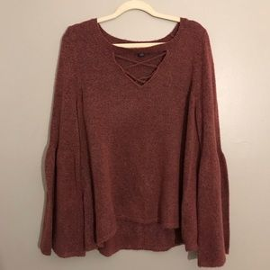 AEO bell sleeve soft oversized sweater
